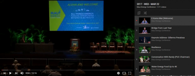 Maui Energy Conference You-tube video